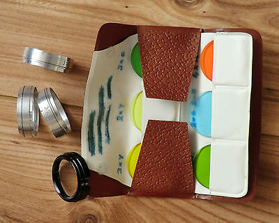 Vintage 4 metal 32mm push fit Glass Holder + Case and set of colour filters