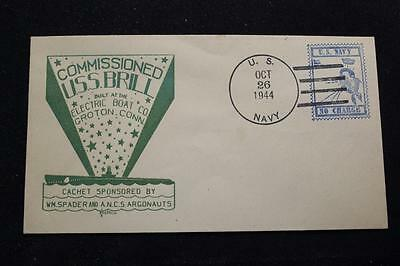Naval Cover 1944 Free Frank World War 2 Commissioning Uss Brill (Ss-330) (3143)