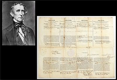 President JOHN TYLER (1841) Official United States 4 language ship's paper RARE.