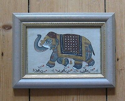 Vintage Small Painting On Silk, Indian Elephant, Framed