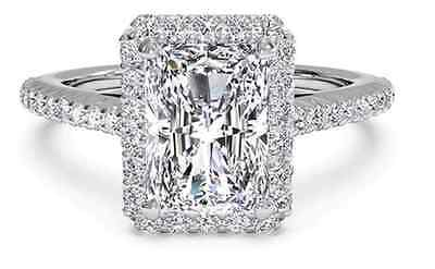 CERTIFIED NEW 14k White Gold Halo Emerald Cut 2.10 CT. Diamond Engagement Ring
