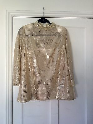 vintage gold glitter long sleeve top tunic size 8 10 12