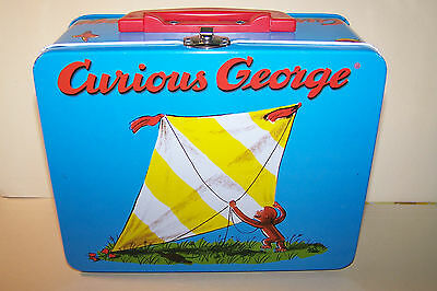 Metal Lunch Box - Curious George Flying Kite, And Riding Bike