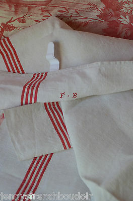 A classic French red striped pure linen torchon towel, red FB monogram