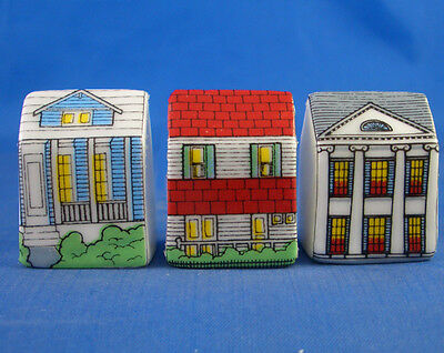 Fine China Thimbles - Set Of Three Miniature House Style -  Colonial
