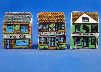 Fine China Thimbles - Set Of Three Miniature House Style - Village Pubs