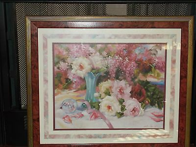 Home Interiors Roses Pastel Floral Framed Print Picture Double Matted Signed