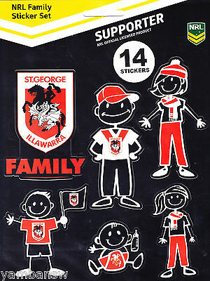 St George Illawarra Dragons * Nrl Footy Family Sticker Set * New & Sealed