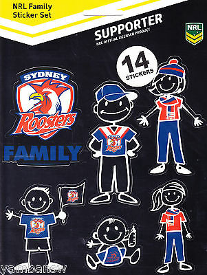 Sydney Roosters * Nrl Footy Family Sticker Set * New & Sealed