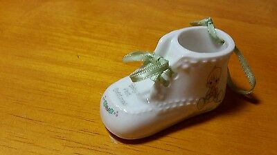 Precious Moments Baby's First Christmas Porcelain Bootie Ornament