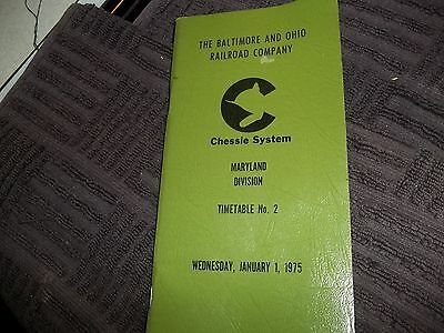B & O Chessie Systems Railroad Maryland Division Timetable No 2 1975