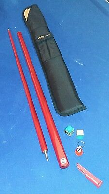 Cue craft 2 piece pool snooker  cue with padded case. .RED.. for man u fan?NEW