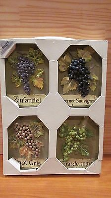 LOT of 4 DECORATIVE CERAMIC WINE WALL PLAQUES TILES GRAPES   Images by Kohl's