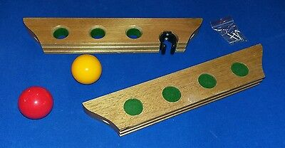 2-piece Pool snooker cue rack wooden holds up to 4 cues/rest NEW