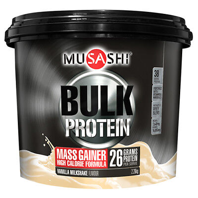 NEW Musashi Protein Powder Bulk Mass Gain Vanilla 2.28Kg Sports Supplements