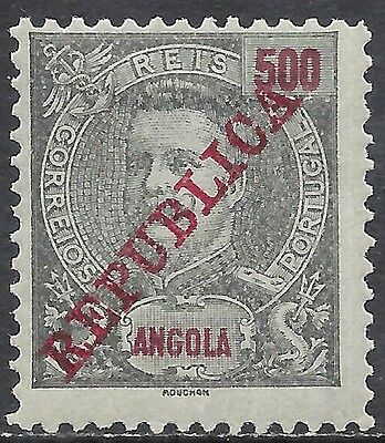 ANGOLA  SCOTT 101 MH FINE+ - 1911 500r BLK &RED/BLUE WITH OVERPRINT