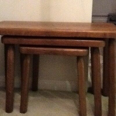 Nest of solid wood tables with lovely patina