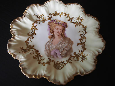 Antique Limoges Lady Portrait Figure Raised Gold Encrusted Hand Painted Plate