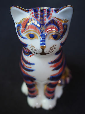 Royal Crown Derby Cat Feline Standing Figure Imari Gold Stopper Perfect FC 3.25""