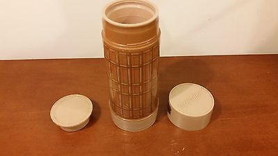 Vintage 1970's Aladdin's Best Buy Thermos Tan Red Gold Plaid 32 OZ WM4060 Retro