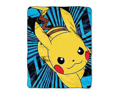 Officially Licensed Pokemon Silky Throw Blanket with Pikachu Design Brand New