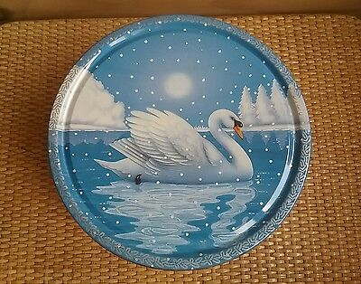 White Swan Round Biscuit/Cake Tin. Vintage collectable 80's.