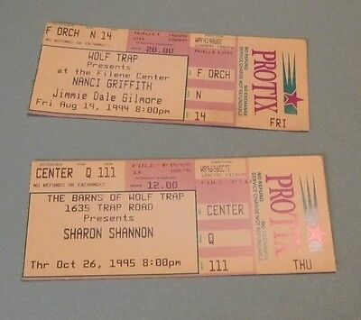 1994 Nanci Griffith 1995 Sharon Shannon Concert Ticket Stubs Wolf Trap Virginia