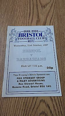 Bristol v Barbarians 1987 Centenary Rugby Union Programme