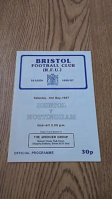 Bristol v Nottingham May 1987 Rugby Union Programme