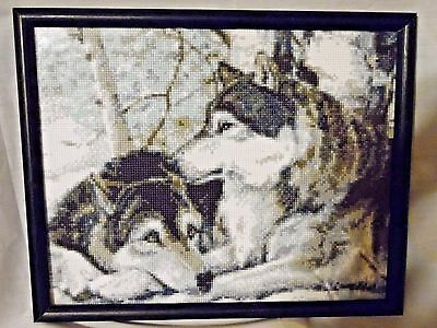 Beautiful Framed Handcrafted Wolves Picture Titled (Soul Mates)