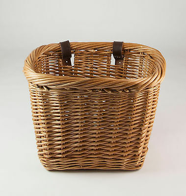 Wicker Bicycle Bike Basket with Leather Strap Fastenings - Rectangular Free P&P