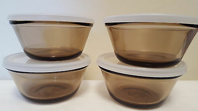 L'Ovenware Individual Amber Custard Cups/ Lids Lot Four 6 ounce Single Serve USA