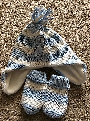Baby Boys Hat And Gloves 0-3mth