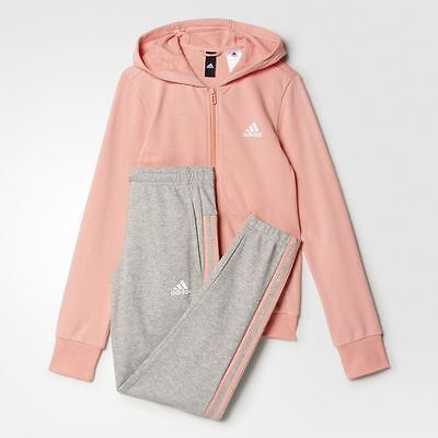 New Adidas Girls Training Hooded Track Suit Age 5 to 14 Years Pink/Gray