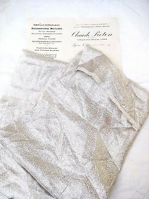 Piece Antique French Lame Fabric Shiny Silver Mesh Metallic Flapper