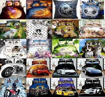 3D Grils Boys Cushion Pillow Case Covers Football Car Pets 70x80 50x70 40x40