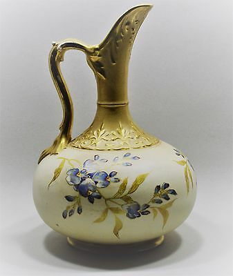 ROYAL BONN 11.5 in. tall EWER - GOLD & FLORAL DECORATION - very good condition