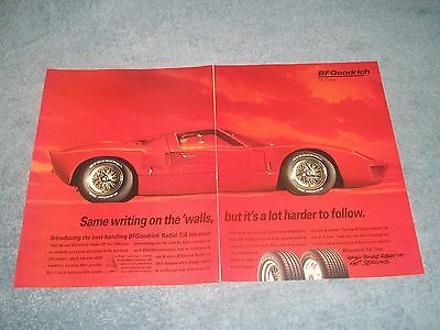 "1994 BFGoodrich Tires Vintage 2pg Ad with Ford GT40 ""Same Writing on the 'walls"""