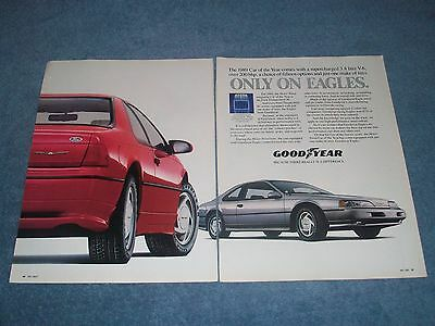 1989 Goodyear Eagle Tires Vintage Ford Thunderbird Super Coupe Ad