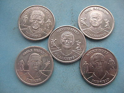 5 X Euro Football England Squad Players 2004 Silver Coloured Medals Tokens Coins