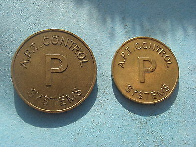 2 X Size A.p.t. Control Systems Car Parking Gold Coloured Token Coin