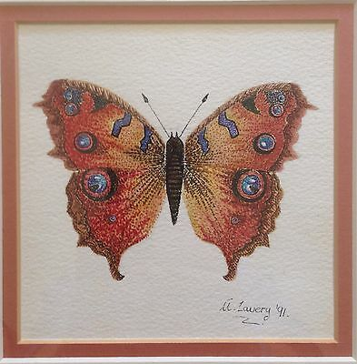 Original Irish Art Wildlife Watercolour Painting Of Butterfly By A Lavery