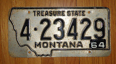 """Black on Aluminum Montana License Plate with a 1964 Tab """"The Treasure State"""""""