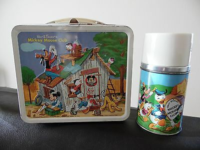 Mickey Mouse Club 1960s Metal Aladdin Lunchbox Complete Thermos Walt Disney Prod