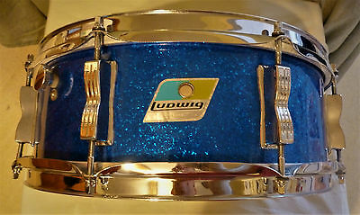 Vintage Ludwig Jazz Festival Blue Sparkle 5x14 Snare Drum 70s Blue Olive Badge