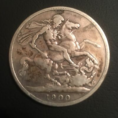 1900 LXIV Sterling Silver Queen Victoria CROWN Coin