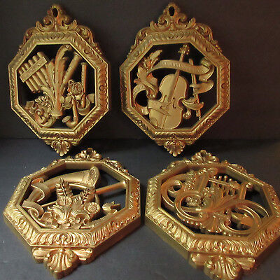 Set 4 Wall Plaques Homco Musical Instruments Vintage Gold Home Interiors Ornate