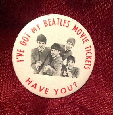 """Vintage Beatles """"I've Got My Beatles Movie Tickets Have You? Button Pin"""