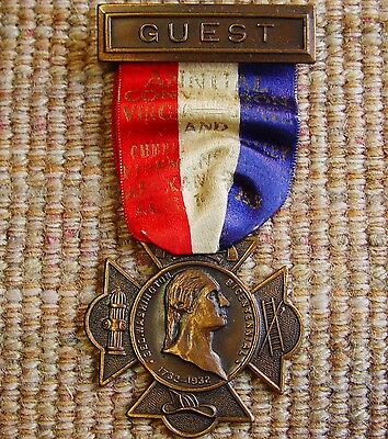 1932 Cumberland Valley & Virginia Firemen Convention Guest Medal Ribbon Vintage