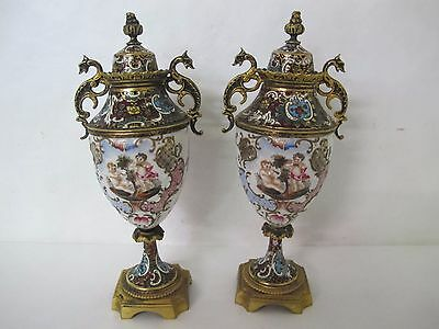 Stunning C. 1900 Pair Of French Enameled Bronze And Cloisonne Sevres Urns